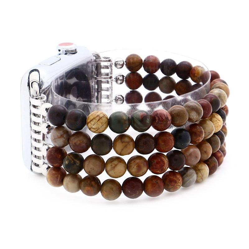 Apple Tiger Eye Beads Watch Strap Natural Stone Apple Watchband For iWatch Women  38mm/42mmWatch Band 4 Rows Bracelet