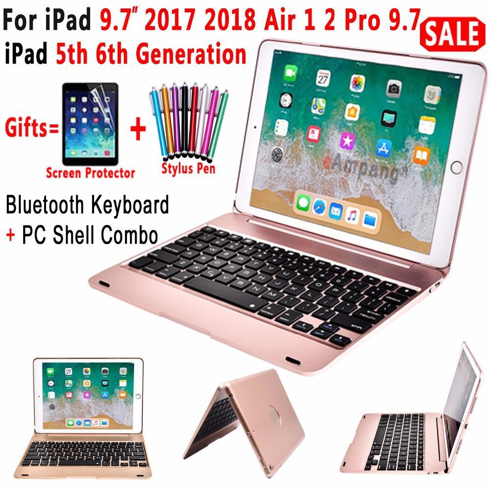 Apple Top Flip Cover for Apple New iPad 9.7 2017 2018 5th 6th Generation Wireless Bluetooth Keyboard Case for iPad Air 1 2 5 6 Pro 9.7