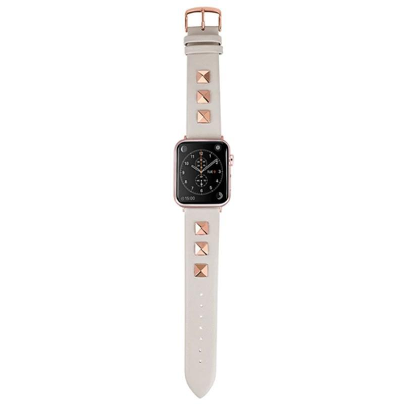 Apple White / 38mm / 40mm Apple Watch Series 5 4 3 2 Band, Punk gold Studded Leather Rivets Design, fits iWatch, 38mm, 40mm, 42mm, 44mm