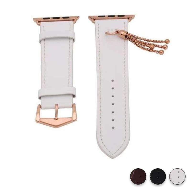 Apple White / 38mm / 40mm Apple Watch Series 5 4 3 2 Band, Rose gold Watch band Women Fashion Tassels Cowhide Genuine Leather Strap 38mm, 40mm, 42mm, 44mm