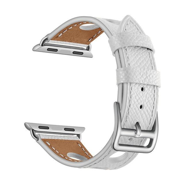 Apple White / 38mm Apple Watch band single leather tour 42mm 38mm 44mm 40mm iwatch series 4/3/2/1 belt replacement clock bracelet wrist, USA Fast Shipping