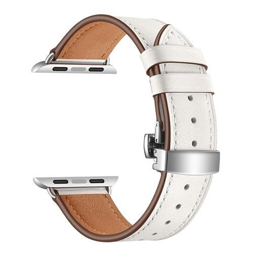 Apple Watch Series 5 4 3 2 Band, Leather Strap Butterfly Clasp watchband Bracelet and Pin Buckle 38mm, 40mm, 42mm, 44mm US Fast Shipping - www.Nuroco.com
