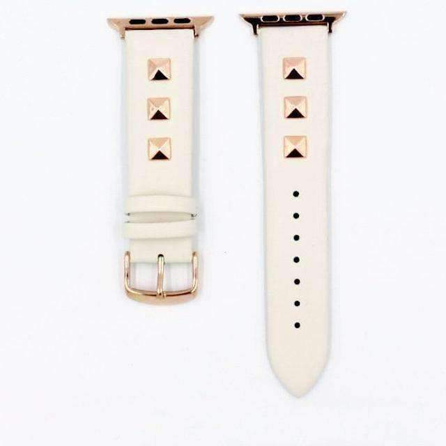 Apple White / 42mm / 44mm Apple Watch Series 5 4 3 2 Band, Punk gold Studded Leather Rivets Design, fits iWatch, 38mm, 40mm, 42mm, 44mm