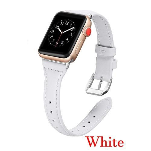 Apple White / 42mm 44mm AW Pulseira strap For apple watch band iwatch 4 3 42mm 38mm 44mm 40mm correa for apple watch band leather Bracelet Accessories, USA Fast Shipping