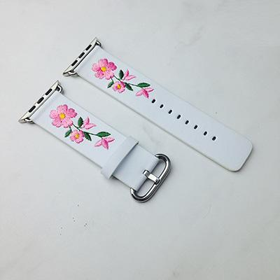 Apple White / For Apple watch 38 Faux Leather Watchband For Apple Watch 38mm 42mm Red Flower Embroidery Women Men Replace Bracelet Strap Band for iwatch 1 2 3