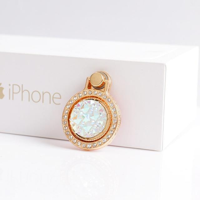 Apple White Luxury 360 Degree Finger Ring Diamond Floral Smartphone Holder for Mount Stand for iPhone 8 Plus 6s