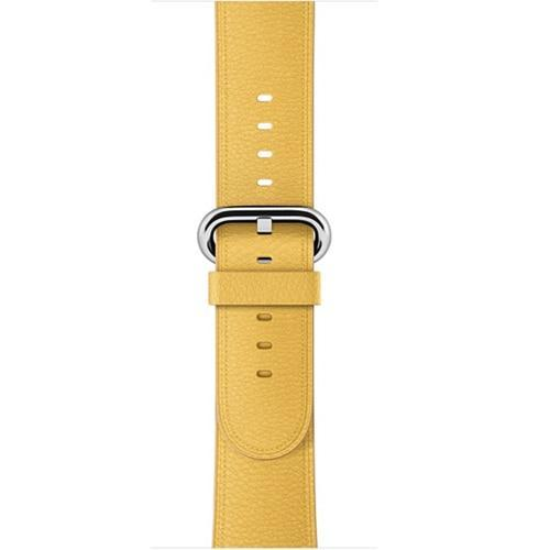 Apple Yellow / 42 mm Leather Strap For Apple Watch Band 42mm 38mm iwatch 4/3 Bracelet 44mm 40mm bracelet Stainless Steel Classic Buckle Watchband, USA Fast Shipping