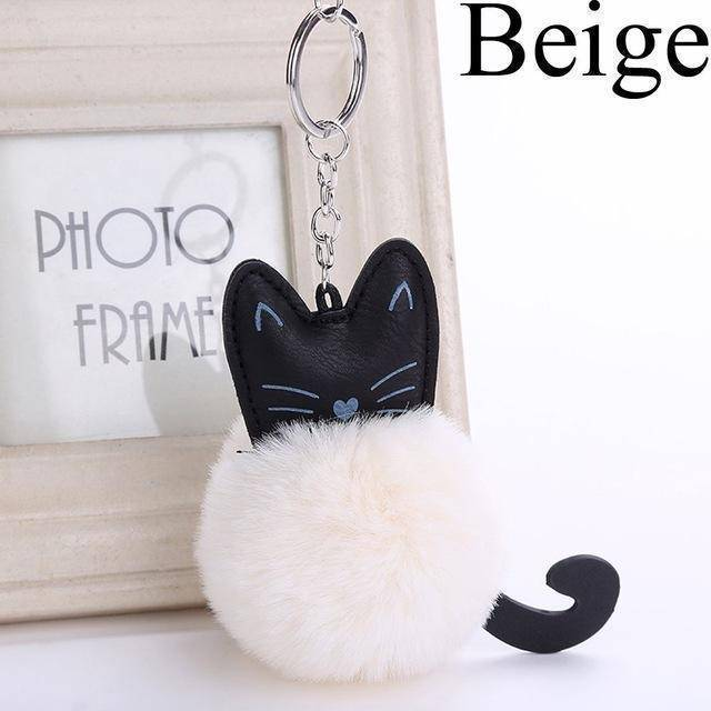 bag accessories Beige Pom pom Cat Fluffy Faux Fur Keychain