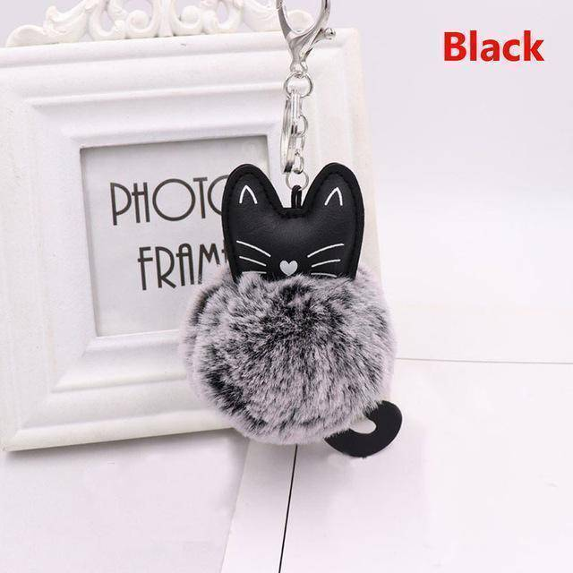 bag accessories black Pom pom Cat Fluffy Faux Fur Keychain