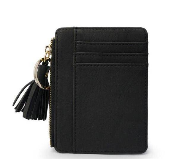 bag accessories Black Slim Wallet Credit Card Holders Thin Tassel Zipper Wallets, Coin Pocket bags