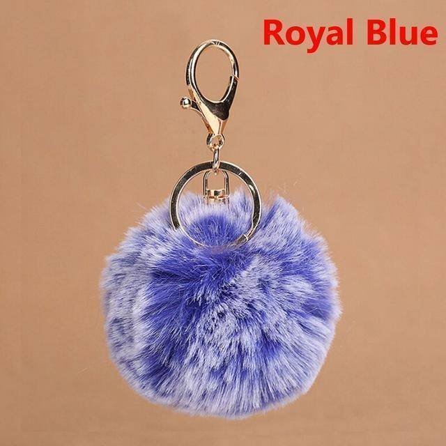 bag accessories blue Pom pom Cat Fluffy Faux Fur Keychain