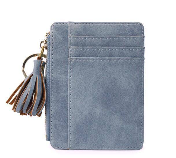 bag accessories Blue Slim Wallet Credit Card Holders Thin Tassel Zipper Wallets, Coin Pocket bags