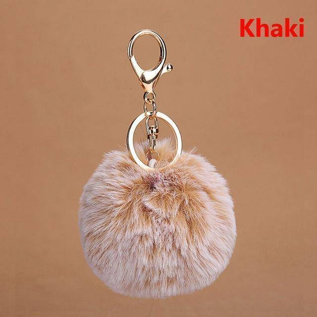 bag accessories brown Pom pom Cat Fluffy Faux Fur Keychain