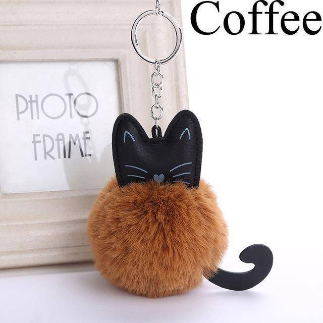 bag accessories coffee Pom pom Cat Fluffy Faux Fur Keychain