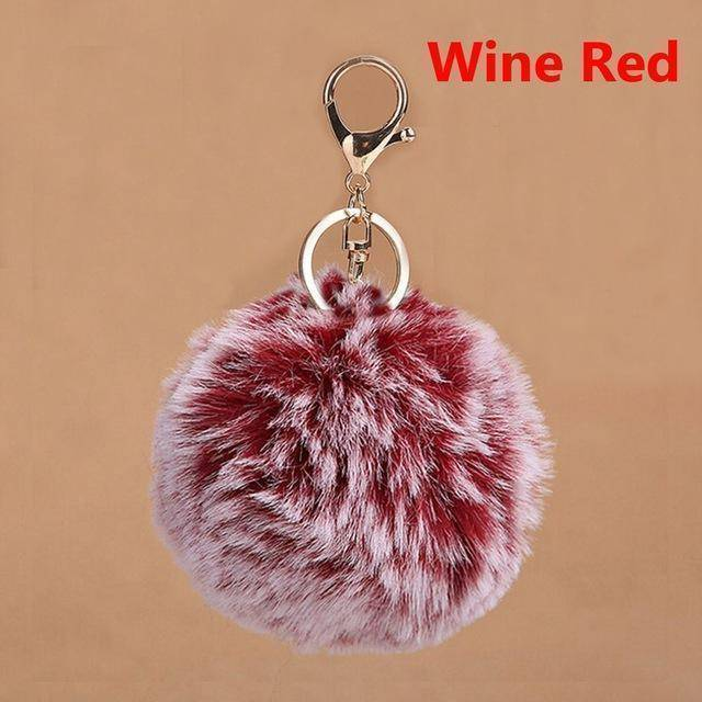 bag accessories crimson Pom pom Cat Fluffy Faux Fur Keychain