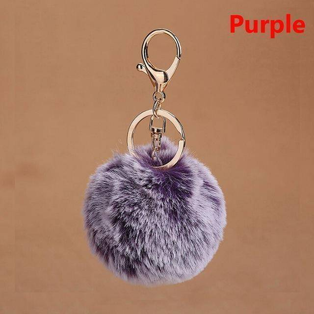 bag accessories dark purple Pom pom Cat Fluffy Faux Fur Keychain
