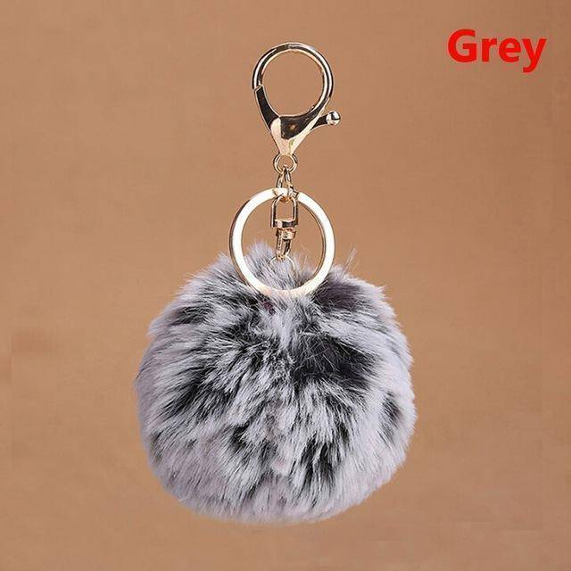 bag accessories gray Pom pom Cat Fluffy Faux Fur Keychain
