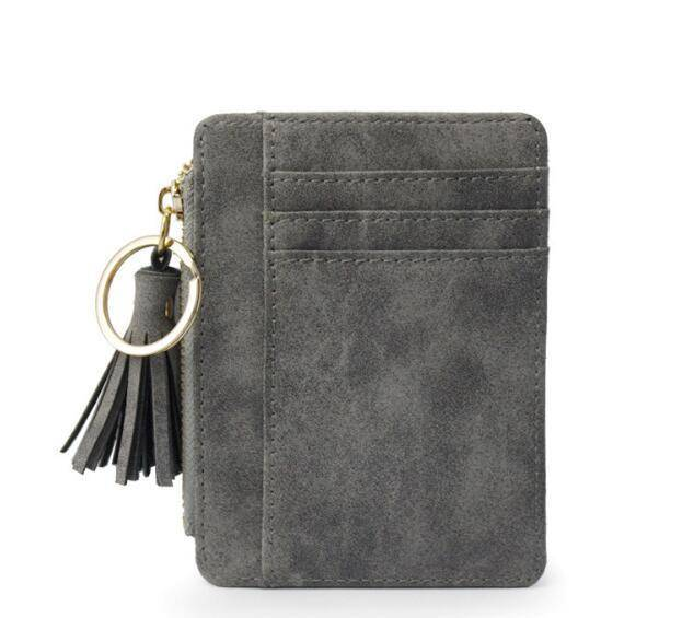 bag accessories Gray Slim Wallet Credit Card Holders Thin Tassel Zipper Wallets, Coin Pocket bags