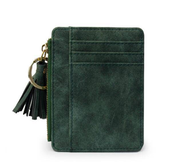 bag accessories Green Slim Wallet Credit Card Holders Thin Tassel Zipper Wallets, Coin Pocket bags