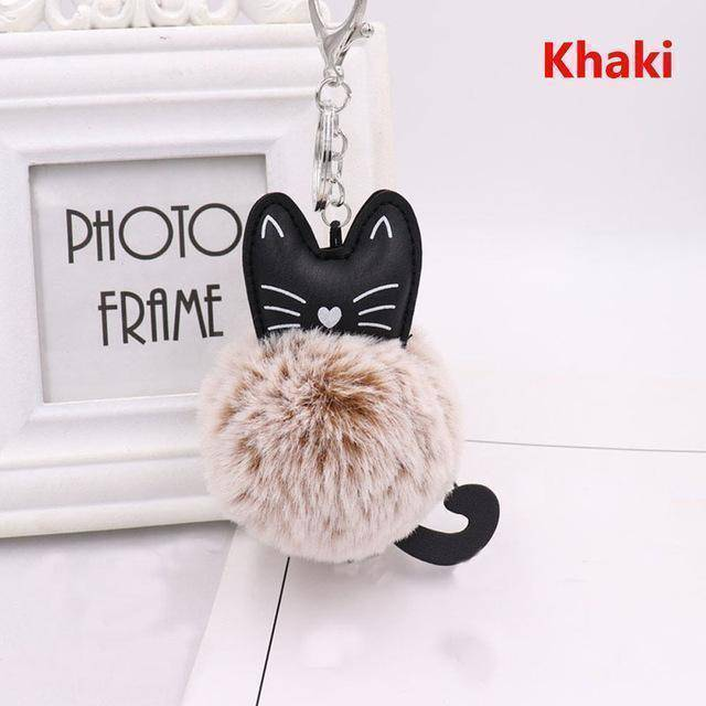 bag accessories khaki Pom pom Cat Fluffy Faux Fur Keychain