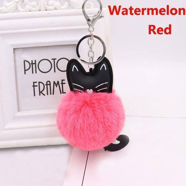 bag accessories magenta Pom pom Cat Fluffy Faux Fur Keychain