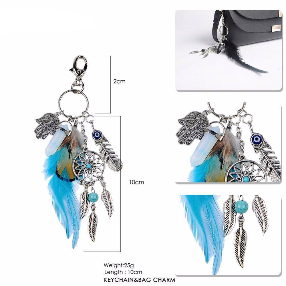 bag accessories Natural opal stone dreamcatcher boho keyring, bag charm Silver