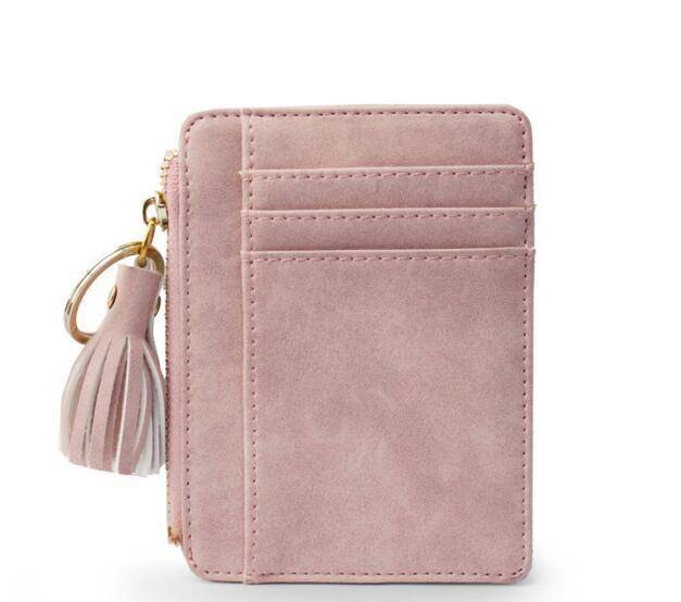 bag accessories Pink Slim Wallet Credit Card Holders Thin Tassel Zipper Wallets, Coin Pocket bags
