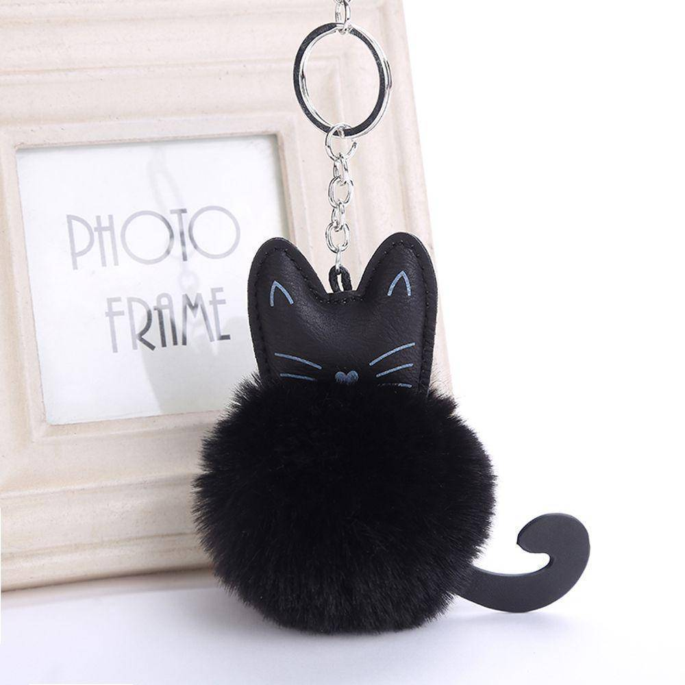 bag accessories Pom pom Cat Fluffy Faux Fur Keychain