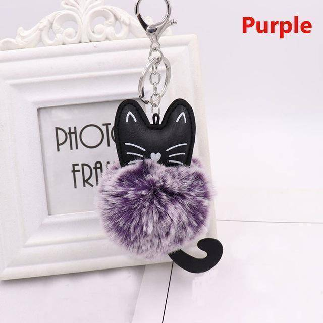 bag accessories purple Pom pom Cat Fluffy Faux Fur Keychain