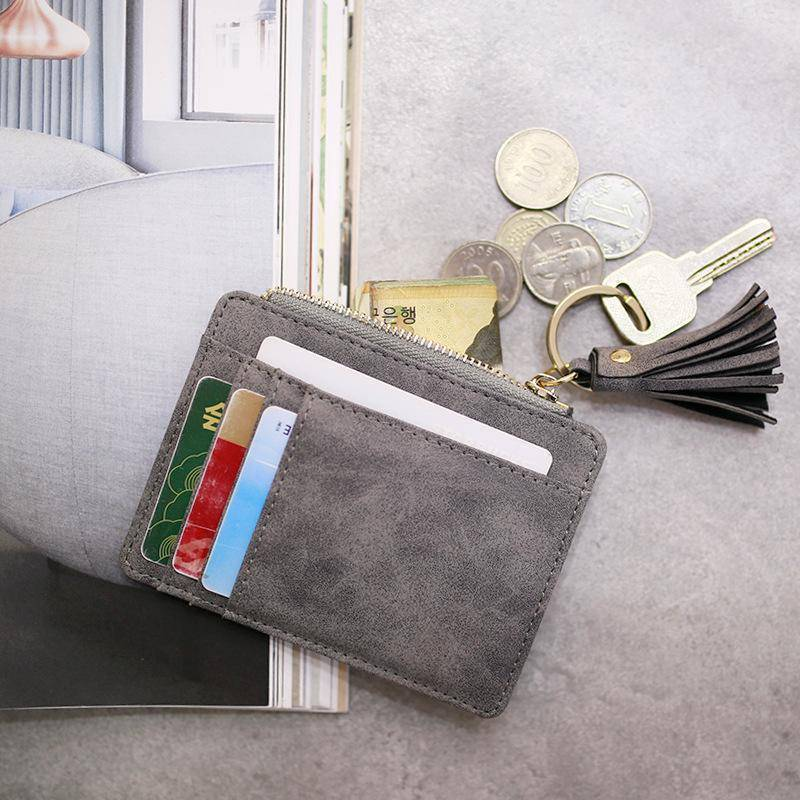 bag accessories Slim Wallet Credit Card Holders Thin Tassel Zipper Wallets, Coin Pocket bags