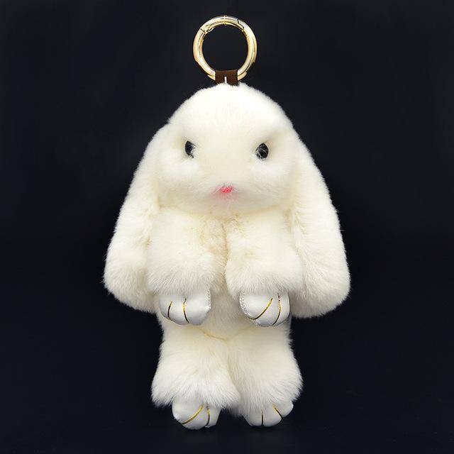 bag accessories White 17 Colors, Cute Mini Natural Rabbit Fur