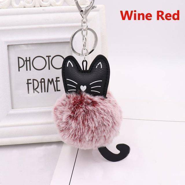 bag accessories wine red Pom pom Cat Fluffy Faux Fur Keychain
