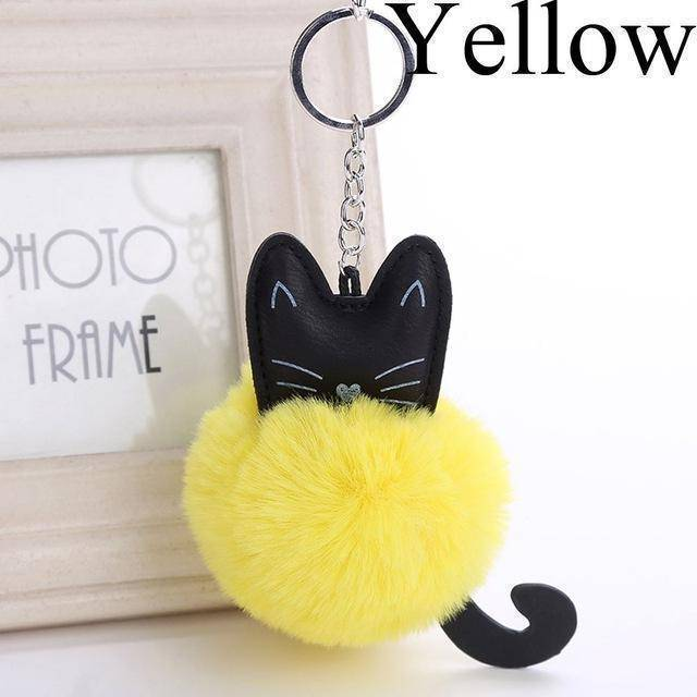 bag accessories yellow Pom pom Cat Fluffy Faux Fur Keychain