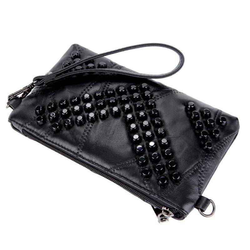 bag Diamond Genuine Leather Bag Rivet Crossbody Messenger Bag