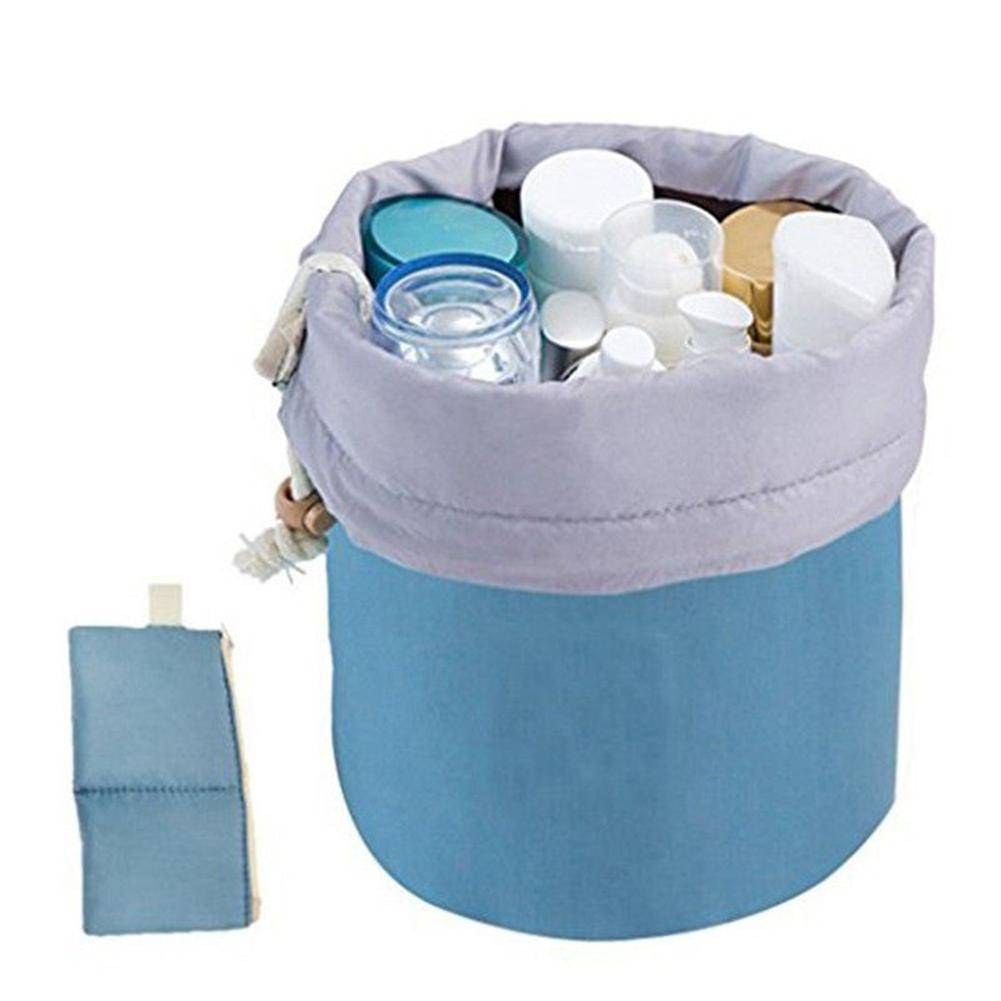 bag organization Blue Makeup Barrel Shaped Cosmetic Storage Case Travel Toiletry Organizer