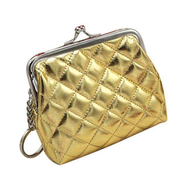 bag organization Gold Small Coin Purse with Keychain