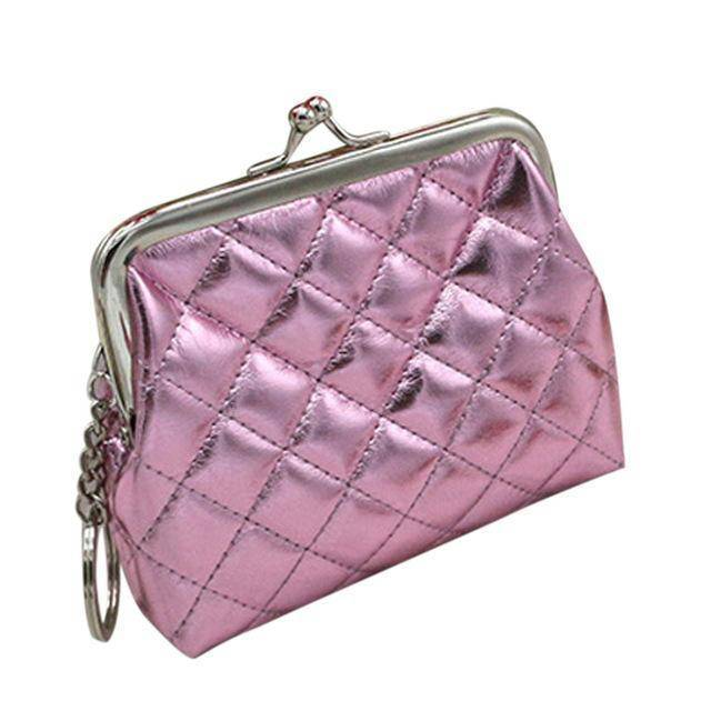 bag organization Pink Small Coin Purse with Keychain
