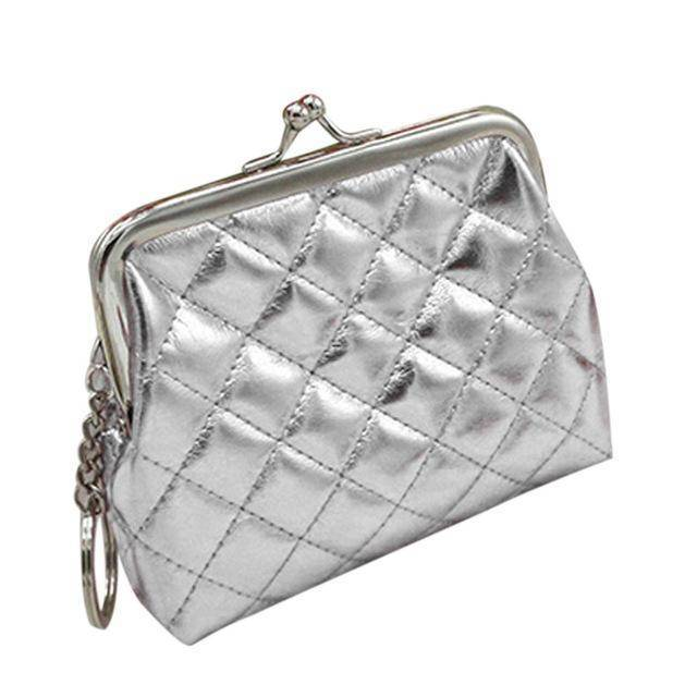 bag organization Silver Small Coin Purse with Keychain