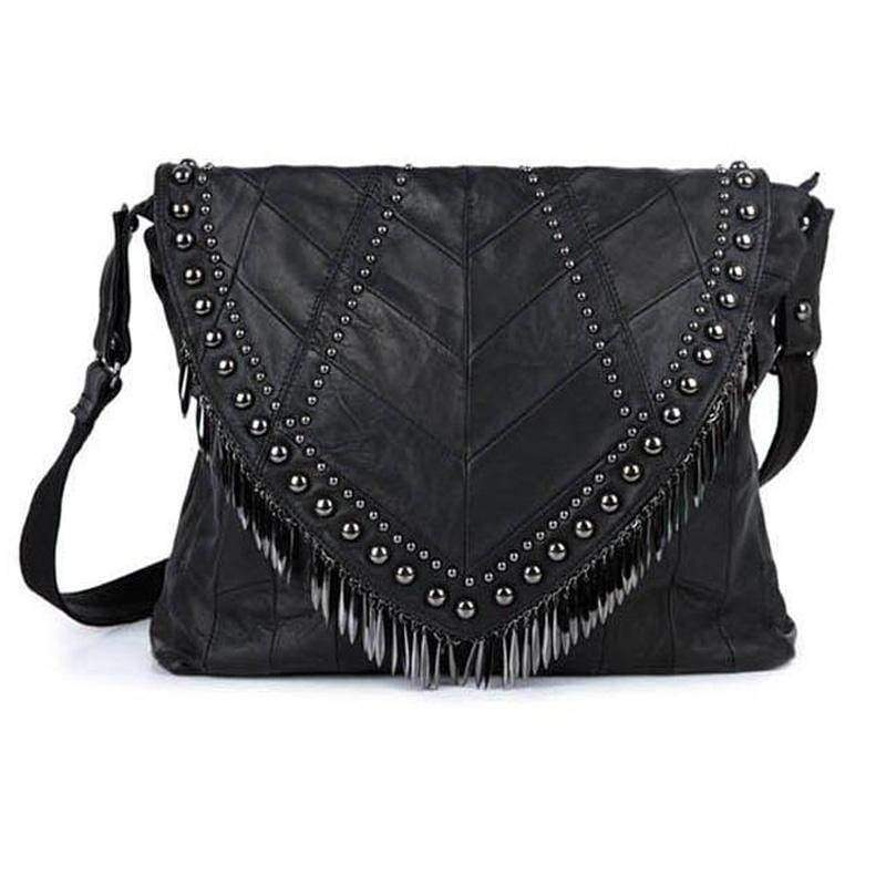 Bags All-match Genuine Leather Women Handbags Designer Tassel Female Shoulder Bags Rivet Bag