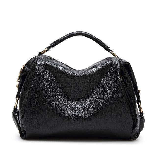 Bags Black Boston Women Handbag, Lichee Pattern Vegan Leather Bag