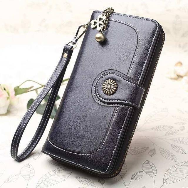Bags black Wallets for Women Clutch Purses iPhone, Vintage Oil Wax Leather Wallets Long Purse Phone Pouch Zipper
