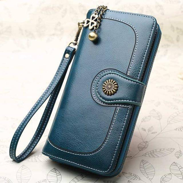 Bags blue Wallets for Women Clutch Purses iPhone, Vintage Oil Wax Leather Wallets Long Purse Phone Pouch Zipper