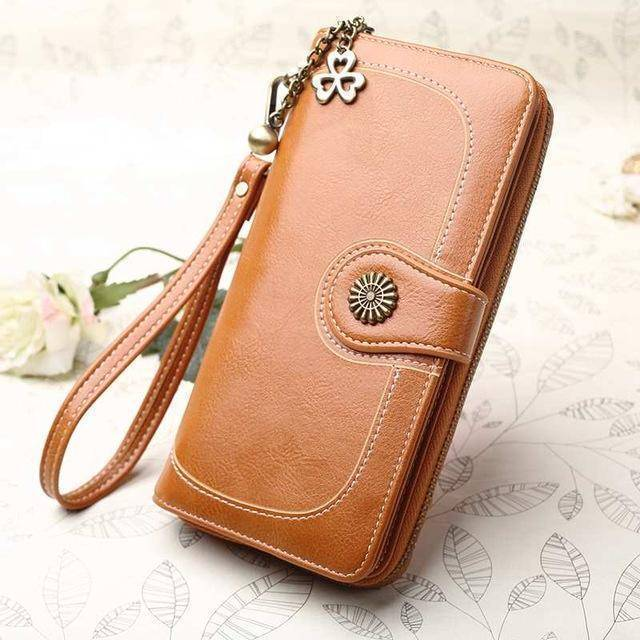 Bags brown Wallets for Women Clutch Purses iPhone, Vintage Oil Wax Leather Wallets Long Purse Phone Pouch Zipper