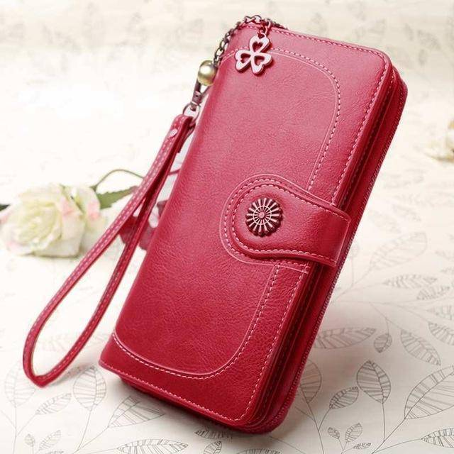 Bags burgundy Wallets for Women Clutch Purses iPhone, Vintage Oil Wax Leather Wallets Long Purse Phone Pouch Zipper