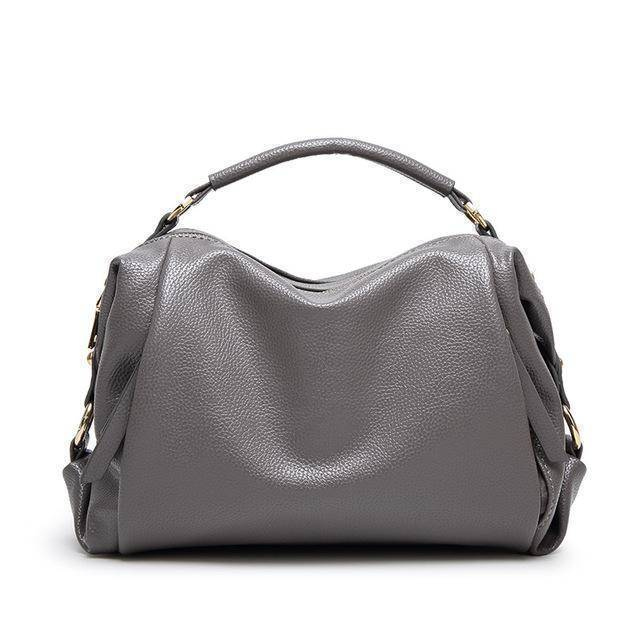 Bags Gray Boston Women Handbag, Lichee Pattern Vegan Leather Bag