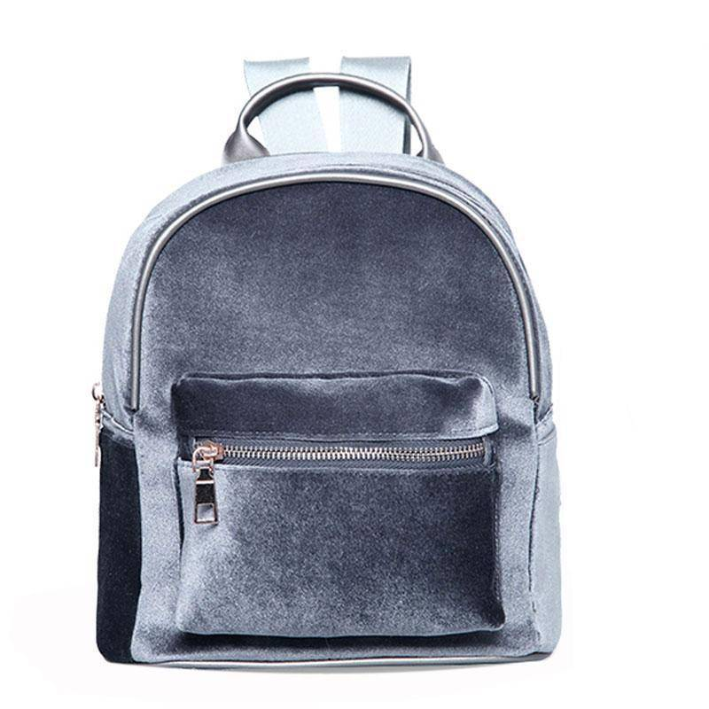 bags Gray Petite Velvet Designer Backpack Soft Backpack
