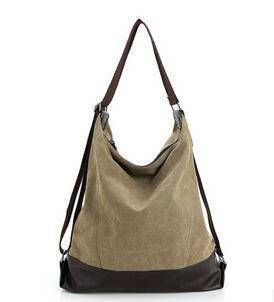 Bags Khaki Vintage Canvas Women Hobo, shoulder tote Bag