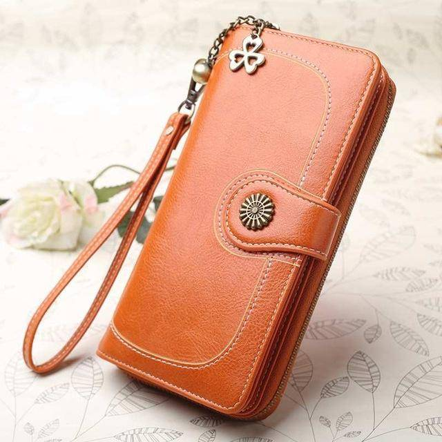 Bags orange Wallets for Women Clutch Purses iPhone, Vintage Oil Wax Leather Wallets Long Purse Phone Pouch Zipper