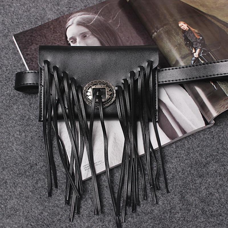 bags Phone holder, Genuine Leather cowhide Vintage long Tassel Waist bag, fringe fanny pack, clutch - black