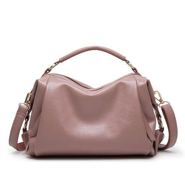 Bags Pink Boston Women Handbag, Lichee Pattern Vegan Leather Bag